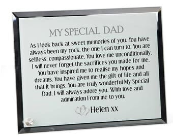 Father  Poem Personalised Glass Plaque - Special Dad