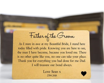 Genuine Leather Wallet and Personalised Father of the Bride Keepsake card