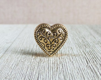 Gold Heart - Fancy - Love - Marriage - Wedding - Lapel Pin