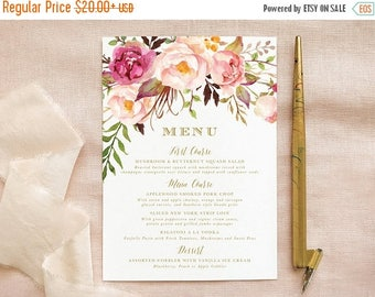 Blush Pink and Gold Wedding Menus for Bohemian Wedding Decor