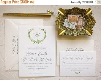 Wreath Greenery Invitation Suite for Rustic Wedding