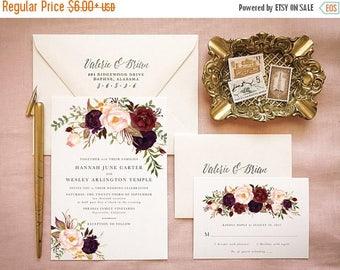 Marsala Wedding Invitation Suite for Bohemian Wedding