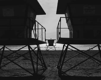 Oceanside California Black and White, Lifeguard Towers, Beach, Palm Trees, Photography