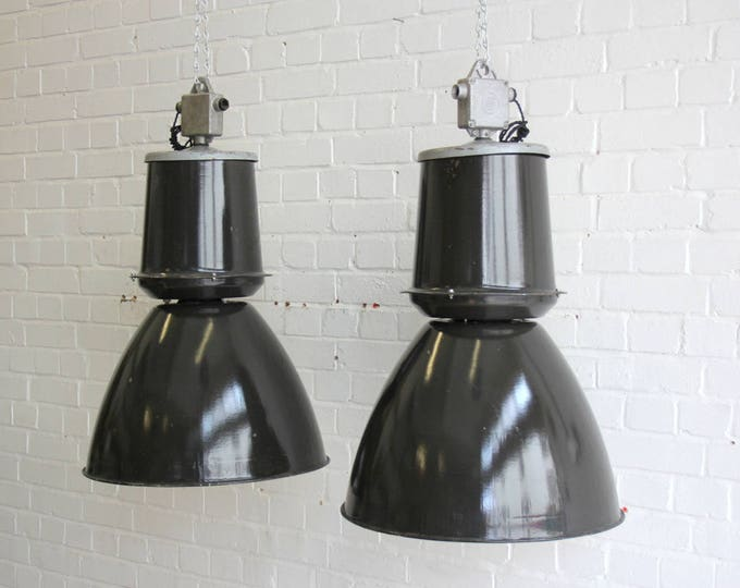 Large Czech Black Industrial Factory Lights Circa 1960s