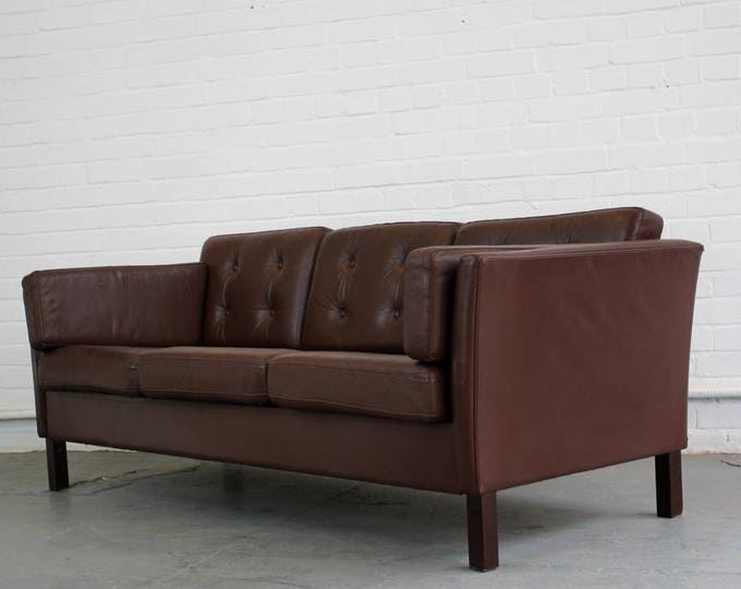 Mid Century Danish Leather Sofa Circa 1960s