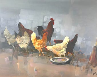 Hens, Original oil painting, Handmade artwork, large size, one of a kind