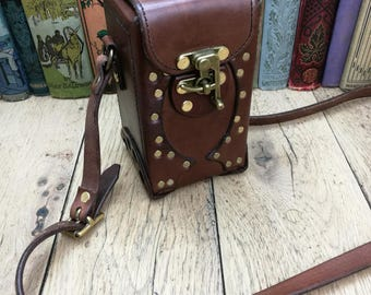 Leather camera case, leather handbag, gothic bag, brown leather bag, gothic handbag, steampunk bag, steampunk, playing card case, gaming