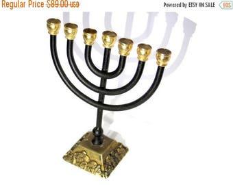 SALE Karshi Menorah,24k gold plated,vintage,temple house,home decor,collectors,holyland,jerusalem,judaica