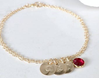Personalized letter Bracelet Initial Jewelry monogram bracelet monogram jewelry birthstone bracelet mothers bracelet birthstone bracelet