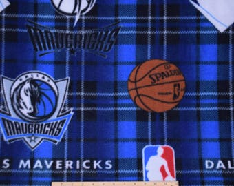 Dallas Mavericks Fabric Plaid FLEECE NBA Basketball Fabric