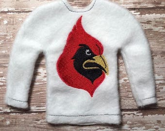 100% In the Hoop - Cardinal - Cardinals - Mascot - Doll Sweater - 5 x 7 Only - Fleece is Suggested -  DIGITAL Embroidery Design