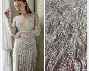 1 Yard New Fashion,Off-White Sequin Lace Fabric,White Bridal Dress Lace,French Embroidery Lace Fabric,Wedding Dress,Snow Dress Lace,