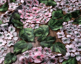 New!!1Yard 3D Flower Lace Fabric,Gorgeous Embroidery Floral Lace Dress Fabric,Wedding Dress,Girl Dress Lace,Multicolor Green&Pink Lace