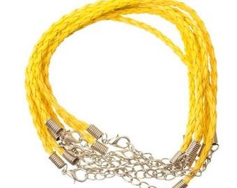Faux yellow braided leather 20cm bracelet