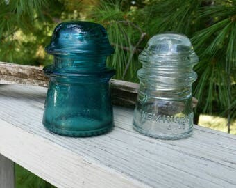 Clear & Aqua Hemingray Insulators Made in U.S.A.