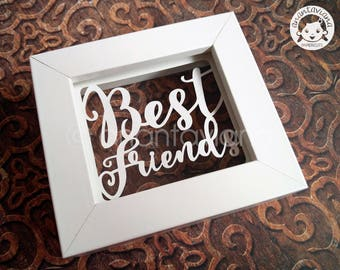 Papercut Template Commercial Use | Best Friends - Tysslinge frame | Design by Anantaviana