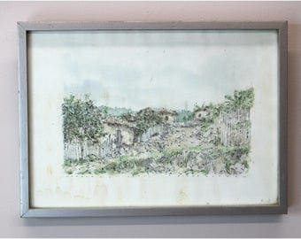 Ilene Gutman Honduras Sketch Watercolorof Huts and Landscape Date 1977