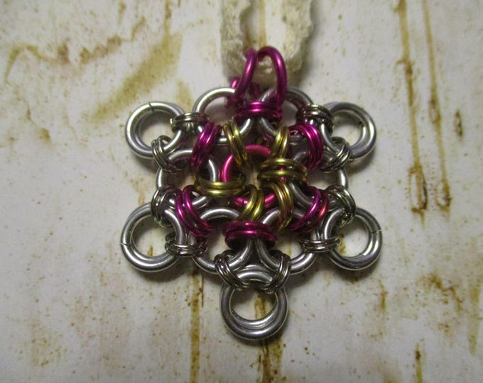 Chainmail Japanese Cherry Blossom Pink Silver Gold Colored Rings  and your choice of necklace