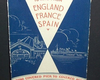 1932 French Line cruise schedule for England, France, Spain