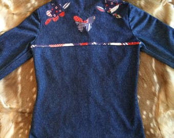 """Polyester """"Denim"""" With Red, White, And Blue Calico Trim And Patchwork Blouse Size 36 Bust Applique Spirit Of 76"""