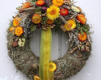 Door wreath with orange yellow Strawflower 38 cm