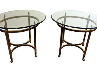Pair of Regency Brass & Glass Hoof Foot End/Side Tables