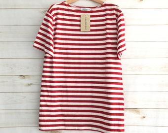Vintage 90'S Calvin Klein Sport Red White Striped Oversized Short Sleeve Shirt Womens Small