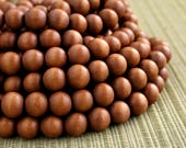 12mm Caramel Brown Round Wood Beads - Dyed and Waxed - 15 inch strand