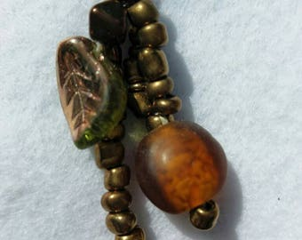 Autumn leaf beaded dangle earrings
