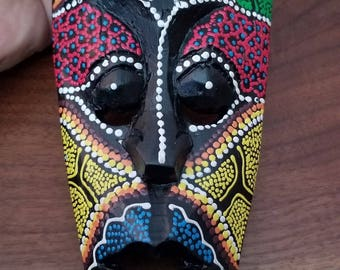 """Hand-Carved Wood Mask from Bali, Indonesia! Wall Art decor! Wood Carving 9.5"""" (Q13)"""
