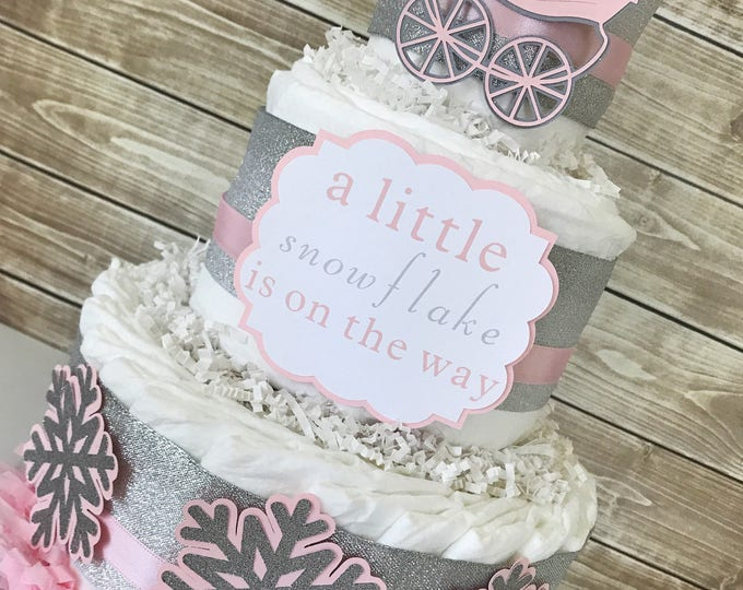Featured listing image: A Little Snowflake is on the way Diaper Cake, Little Snowflake Baby Shower Centerpiece, Winter Baby Shower Decorations