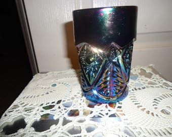 Imperial Diamond Lace Carnival Glass Tumbler