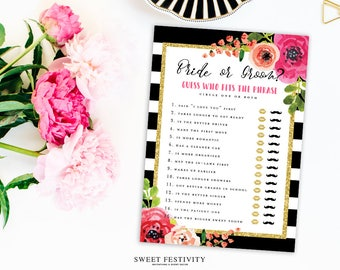 Bride or Groom Game, Bridal Shower Game, Black and White Striped Bridal Shower, Pink Floral Bridal Shower, Wedding Shower, Printable Game