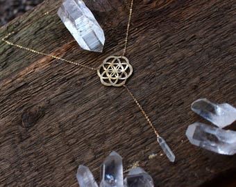Seed of life // Raw crystal quartz neckalce