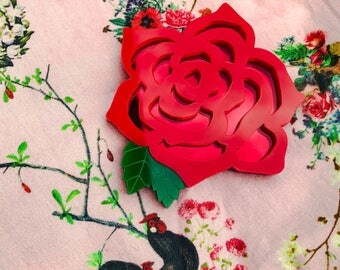 Rose brooch, acrylic brooch, red rose, rose jewellery.