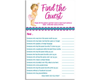 Find The Guest, Baby Shower Game, Vintage Baby With Pink Diaper, Ice Breaker