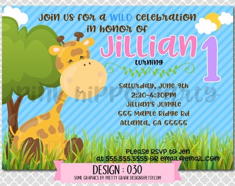 Jungle Giraffe Animal, Wild, Girl:Design #030-Children's Birthday Party Digital Invitation File 4x6 or 5x7 Free Thank You Card with Purchase