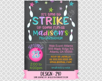 Bowling Girl Chalkboard:Design #240-Children's Birthday Invitation, Personalized, Digital, Printable, 4x6 or 5x7 JPG