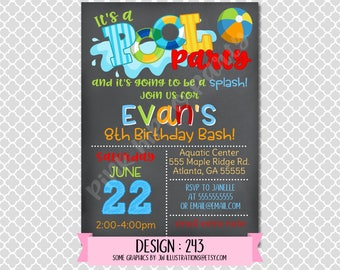 Pool Party Boy Chalkboard, End of Summer:Design #243-Children's Birthday Invitation, Personalized, Digital, Printable, 4x6 or 5x7 JPG
