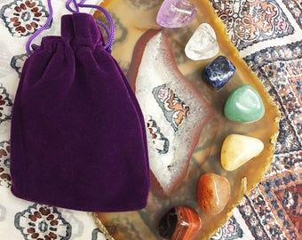 Chakra Crystal Set/ 7 Chakra Stones/Chakra Stones w Pouch/ Pocket Reiki/ Meditation Stones