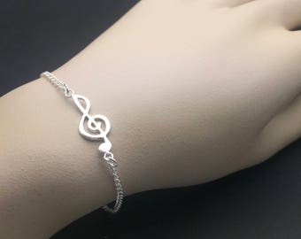 All Sterling Silver -Treble Clef bracelet, Celebrity inspired bracelet, trendy bracelet, layering bracelet,  music note bracelet