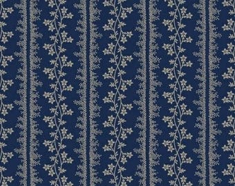Floral Stripe, Navy Blue, R2219200150, Marcus Brothers, Indigo, Paula Barnes, Reproduction (By 1/2 Yard)