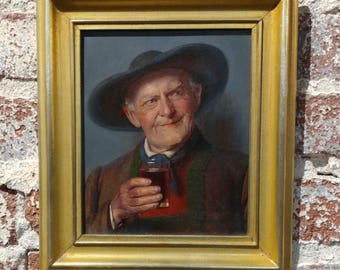19th century happy wine Drinker - German Oil painting - c1880s