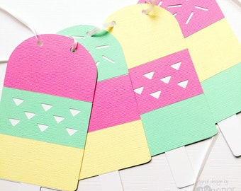 Pastel Popiscle banner. Ice Cream Birthday party garland, bunting, baby shower. Bright Pink  Mint Green Yellow. Icecream sundae party.