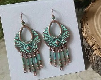 Copper Patina Chandelier Earrings with Czech bugle beads