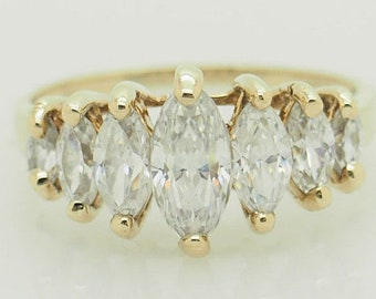 10K Yellow Gold 1.50cttw Marquise Cut Cubic Zirconia Wedding Band Ring 5.75; sku # 5150