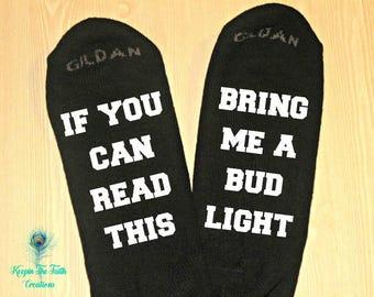 Bud Light Socks - Beer Socks - Novelty Socks - Funny Socks - Stocking Stuffer - Christmas Gift - Gift for Dad - Gift for Him - Birthday Gift
