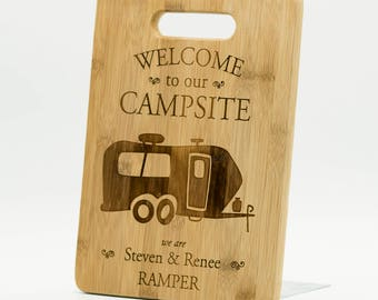 """Personalized Camper Cutting Board 9x6"""" - Welcome to our Campsite Bamboo Custom Engraved Cutting Board - Camper Decor - Travel Trailer"""