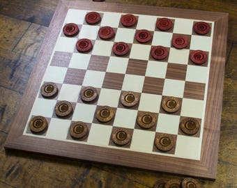 Personalized Checkers Game - Custom Engraved Checkers Checkerboard - Custom Monogram Board Game - Wedding Gift - Anniversary Gift - Draughts