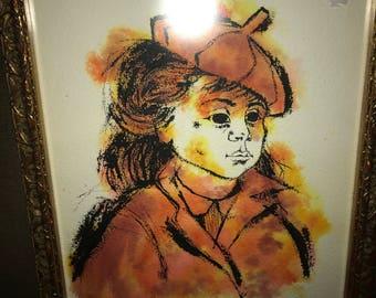 1963 Original Watercolor Painting Signed NEEL DAVIS Vntg Mid Century